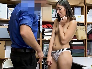 Cute darkhaired shoplifter gets punish got laid on the top of CCTV