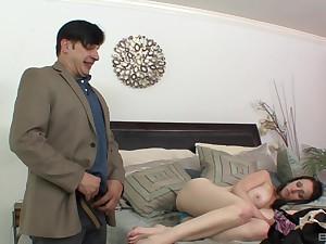 Big tits of brunette Tiffany Love sprayed with warm cum
