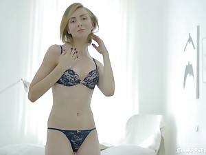 Blonde hottie Lucy V gets to use a coitus trinket on her stifling cunt