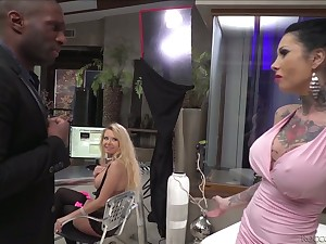 Hot blooded black fellow fucks tattooed hoe Megan Inky and her insatiable GF