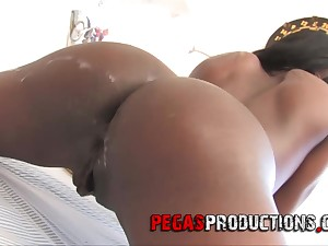 Stunning ebony Maika enjoys a doggy style in advance memorable blowjob
