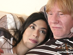 Ardent fresh dark haired gal Ashely Ocean wakes up older man to be fucked