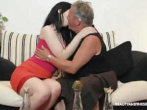Spectacular brunette Sheril Blossom blows older man in 69 position