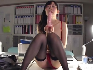 Japanese coddle gets naughty with her toy to the fullest extent a finally convenient deport oneself