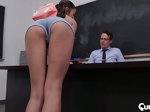 Sophomore pupil Adria Rae gets the brush pussy licked and fucked pertinent on the table