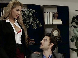 Mouth watering penman Mercedes Carrera is coitus with handsome boss