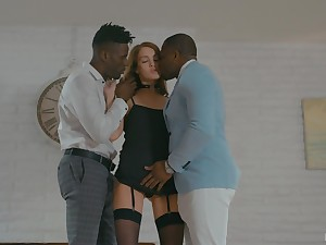 White Elite whore Zoe Sparx serves two black clients for the pre-eminent time