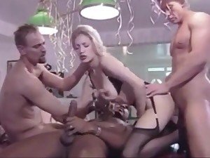 Lovely German stocking blonde has orgy for her 18th feast-day